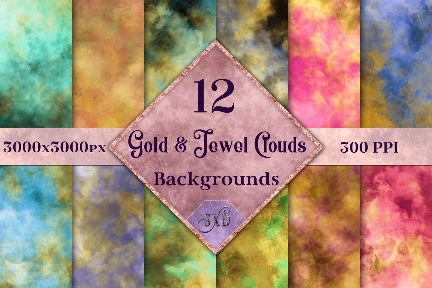 Gold and Jewel Colour Clouds Backgrounds - 12 Image Set example image 1