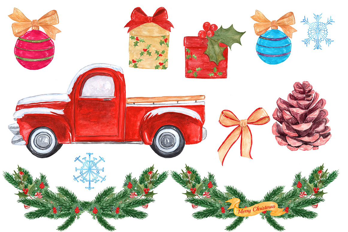 Watercolor Christmas truck clipart example image 2