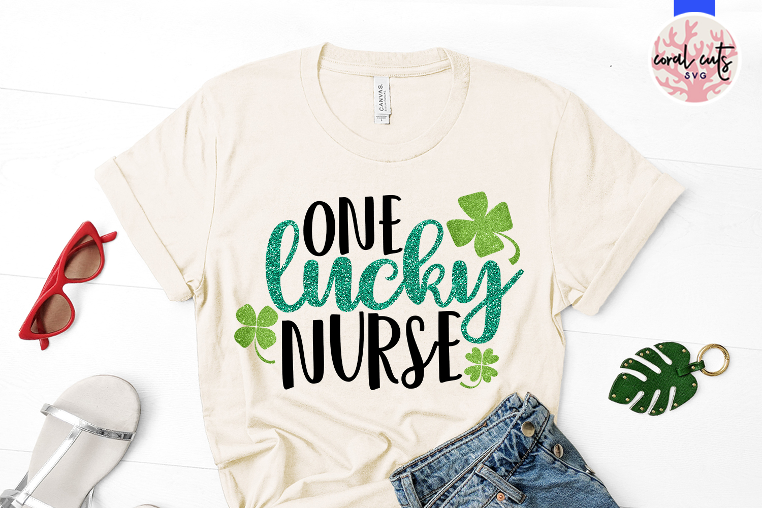 One lucky nurse - St. Patrick's Day SVG EPS DXF PNG example image 2