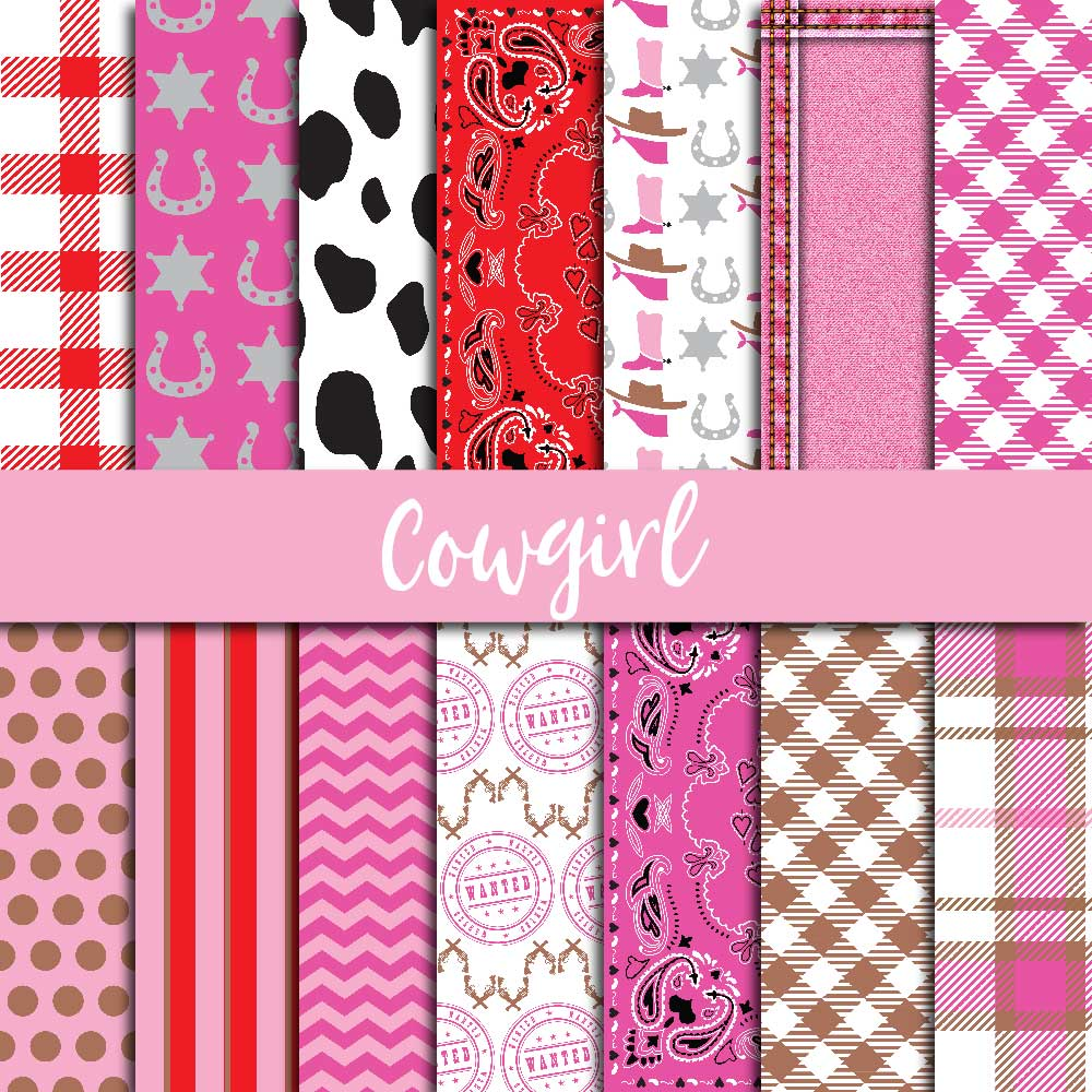 Cowgirl Digital Paper example image 1