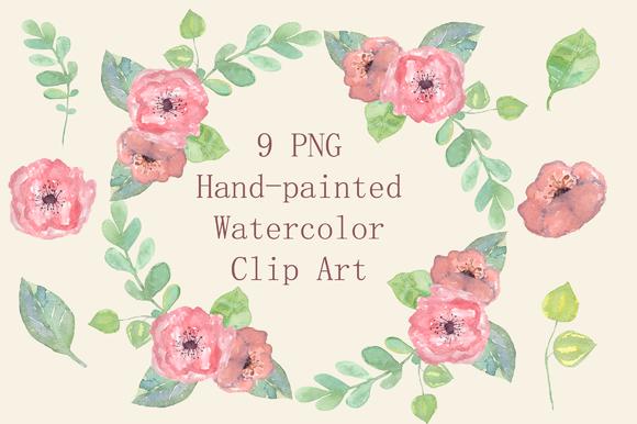 Watercolor Pastel Floral Clip Art example image 1