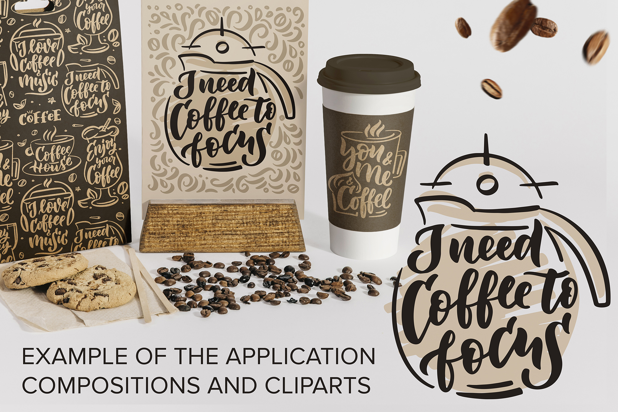 Coffee lettering clipart, vintage example image 7