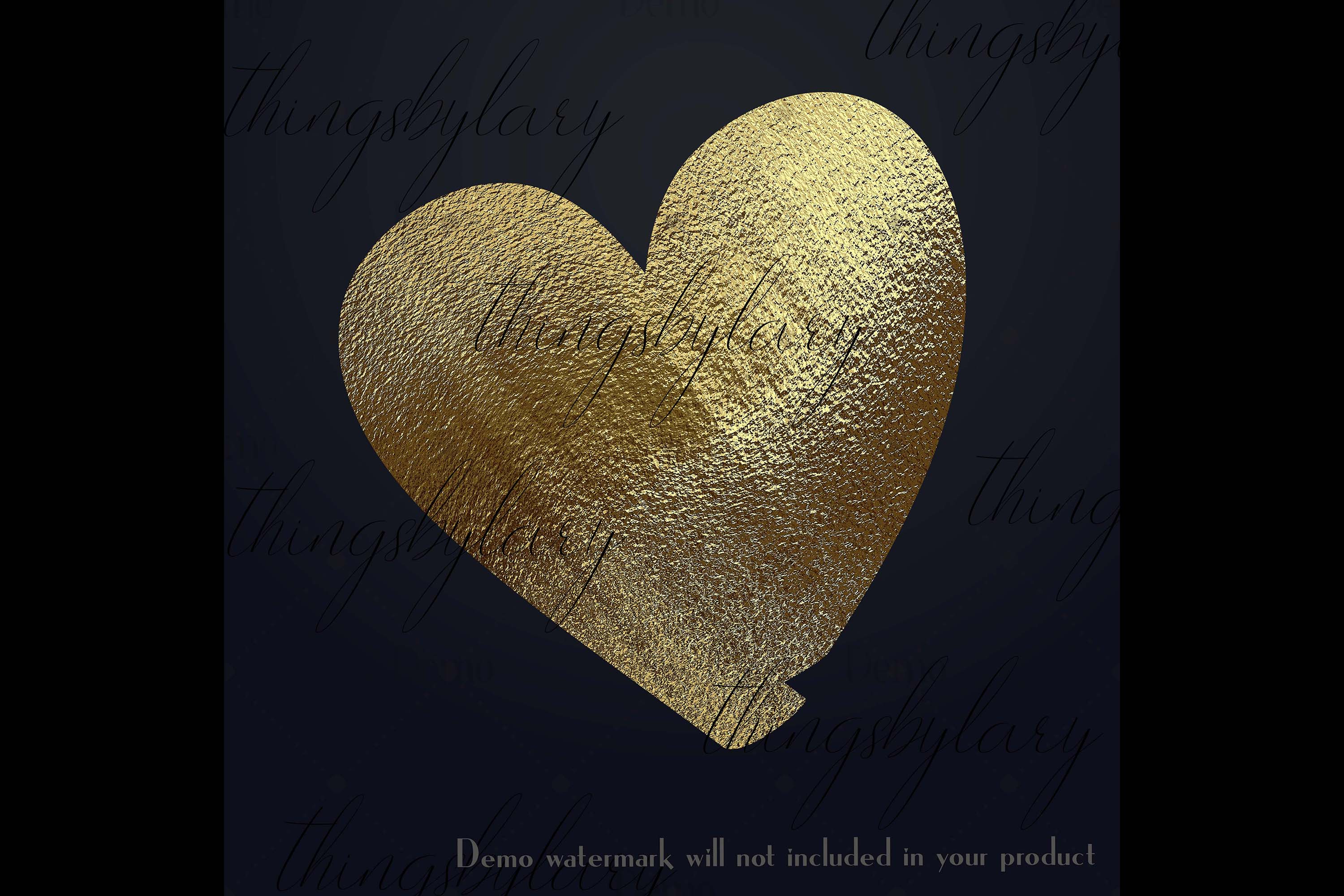 30 Realistic 24k Gold Metallic Hand Drawn Heart Clip Arts example image 2