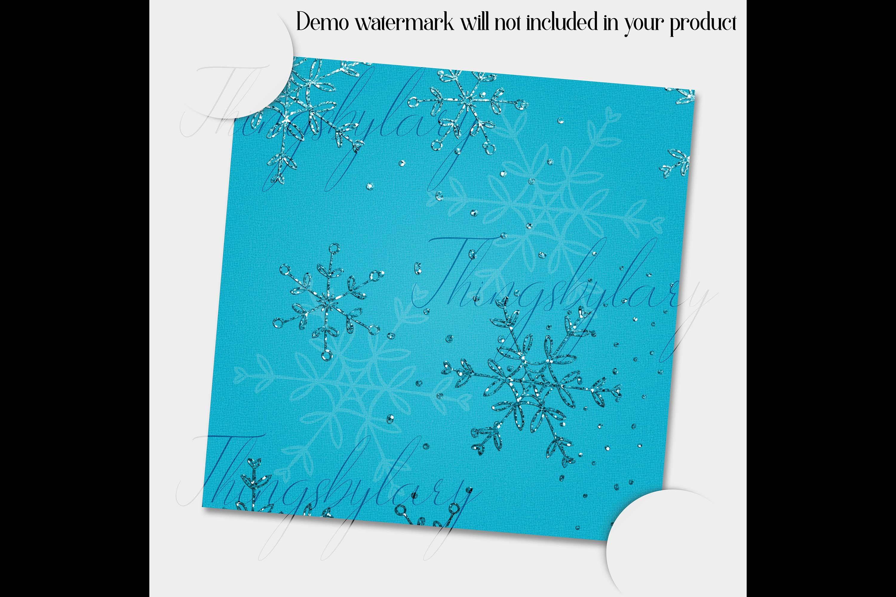 16 Blue Glitter Christmas Printable Digital Papers 12 inch example image 4