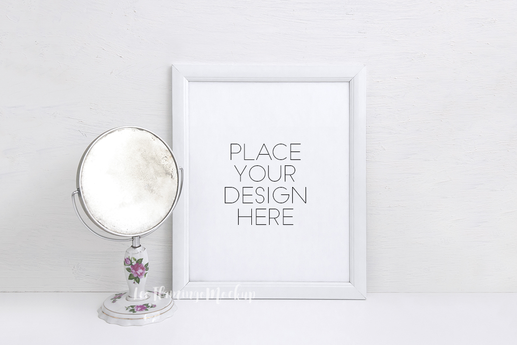 White Frame Mockup 8x10 stock photo png jpg example image 1