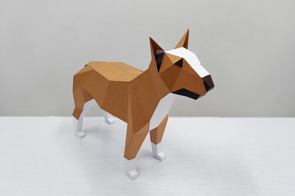 DIY Papercraft Bull Terrier model, papercraft dog sculpture example image 4