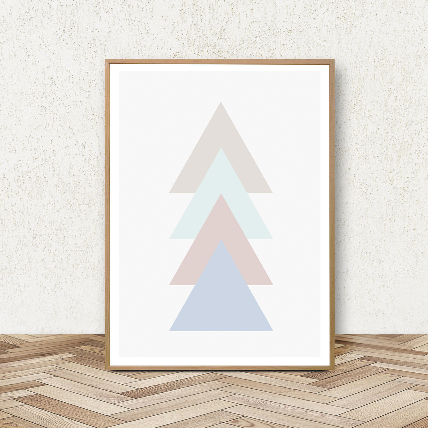 Geometric Print Set of 3, Blue and Pink Wall Art, Pastel Art example image 2