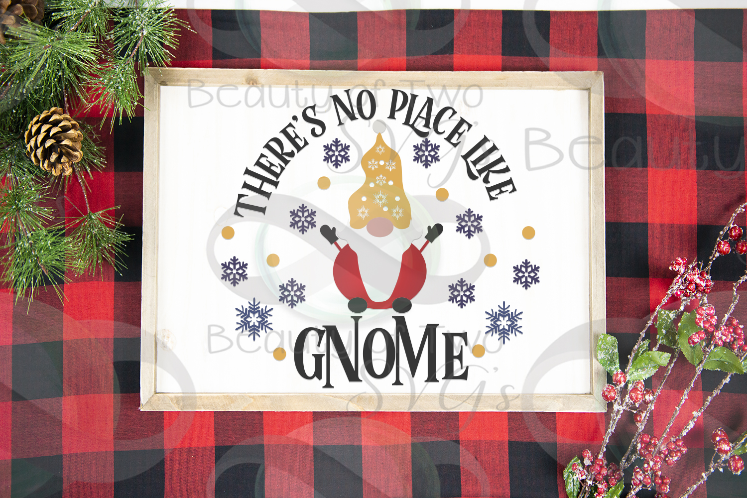 There's no place like Gnome Winter porch svg, Gnome Sign svg example image 2