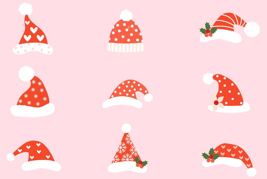 Cute Christmas Clip Art.Hipster Santa Hats Clipart Cute Christmas Clip Art