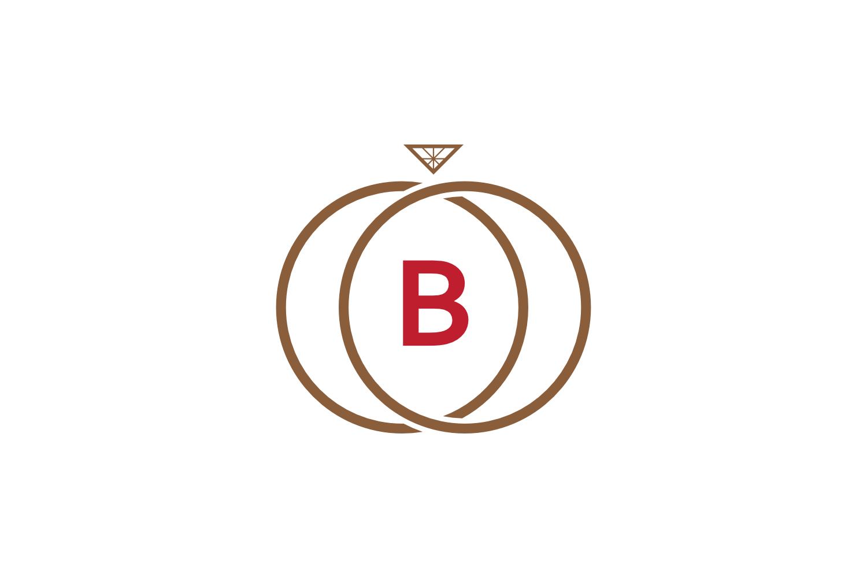 b letter ring diamond logo example image 1