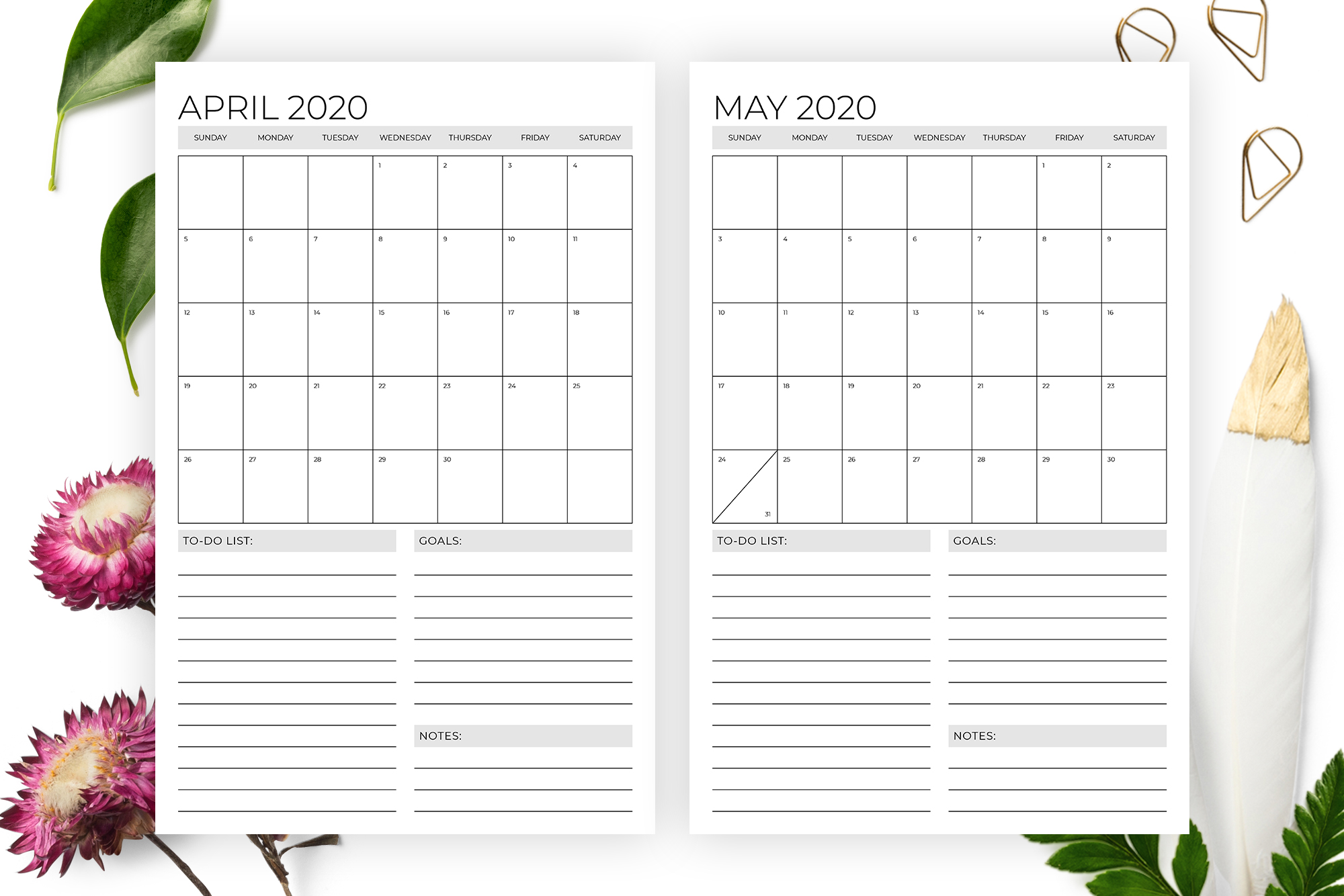 Vertical 11 x 17 Inch 2020 Calendar Template example image 3