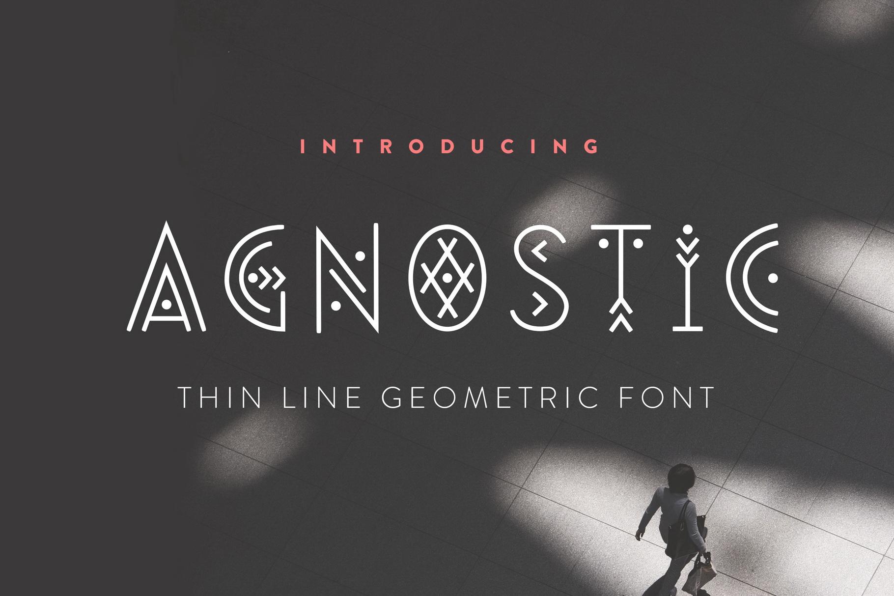 Agnostic - Thin Line Geometric Font example image 1