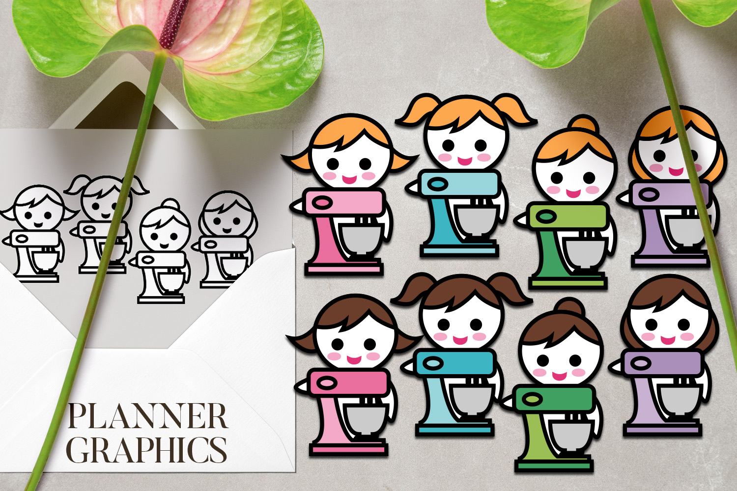 Hobby illustrations bundle - planner sticker graphics example image 7