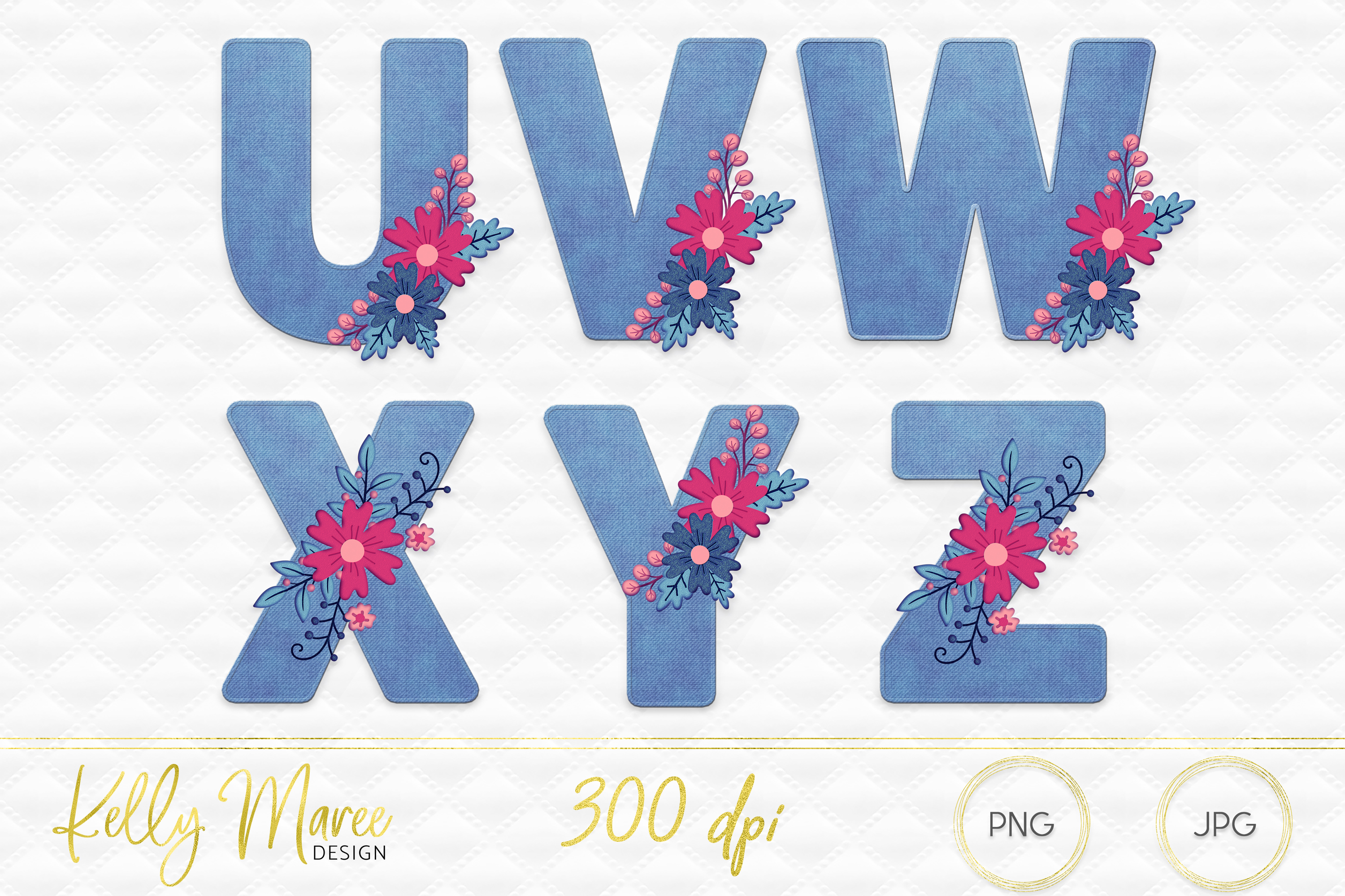 Light Denim & Floral Alphabet Graphic Bundle example image 4