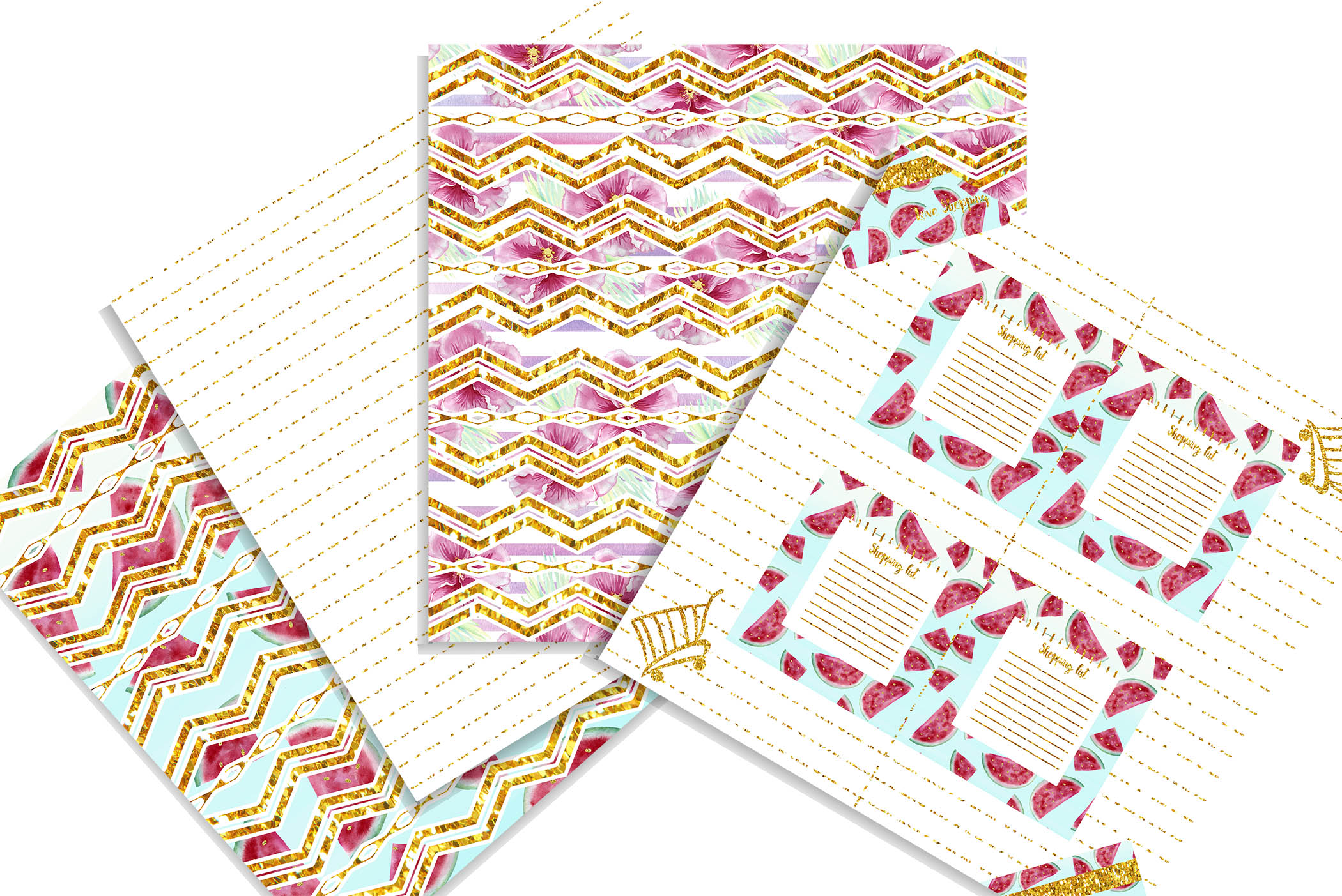 Summer Shopping digital background papers example image 4