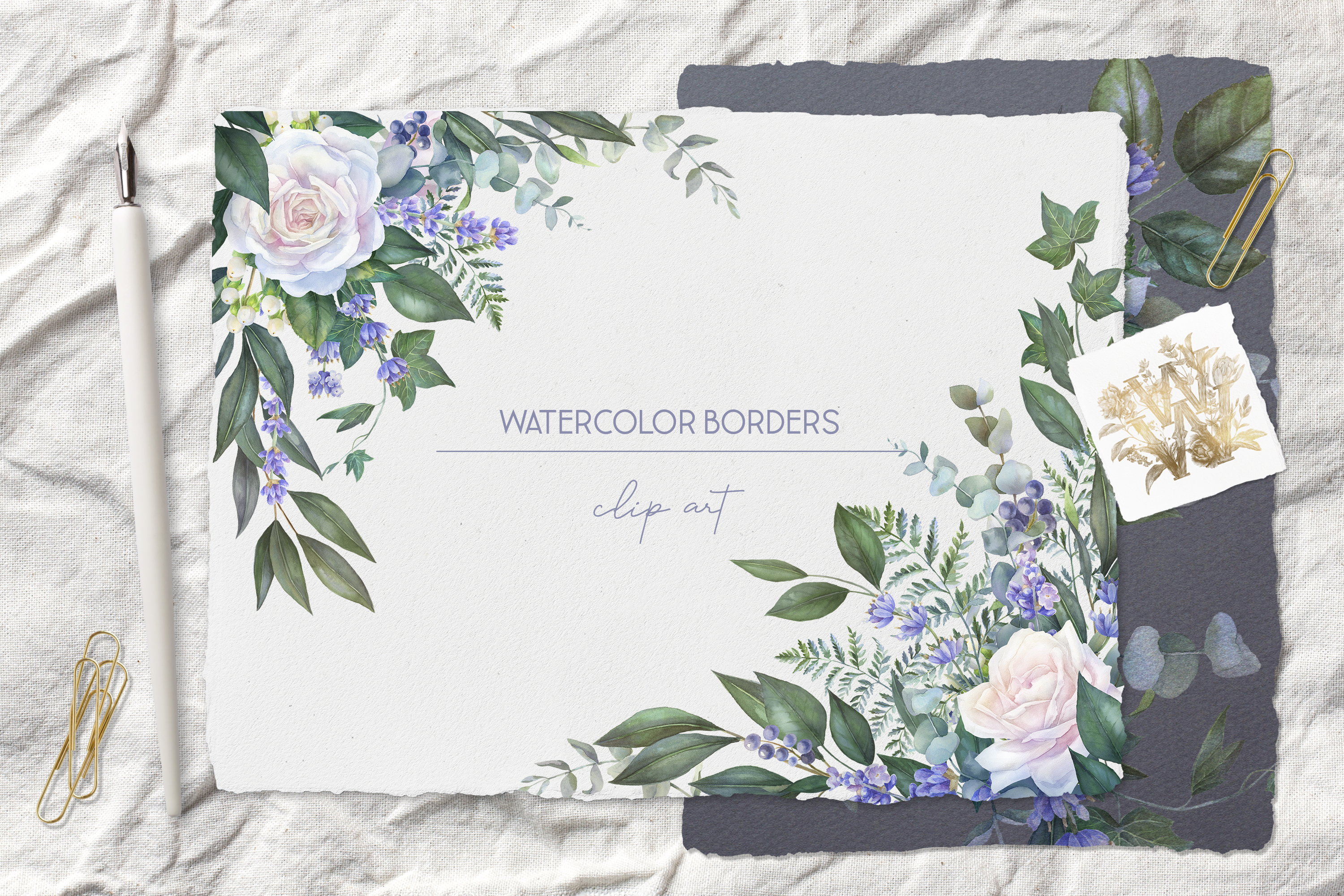 White rose border clip art, watercolor floral wedding frame example image 6