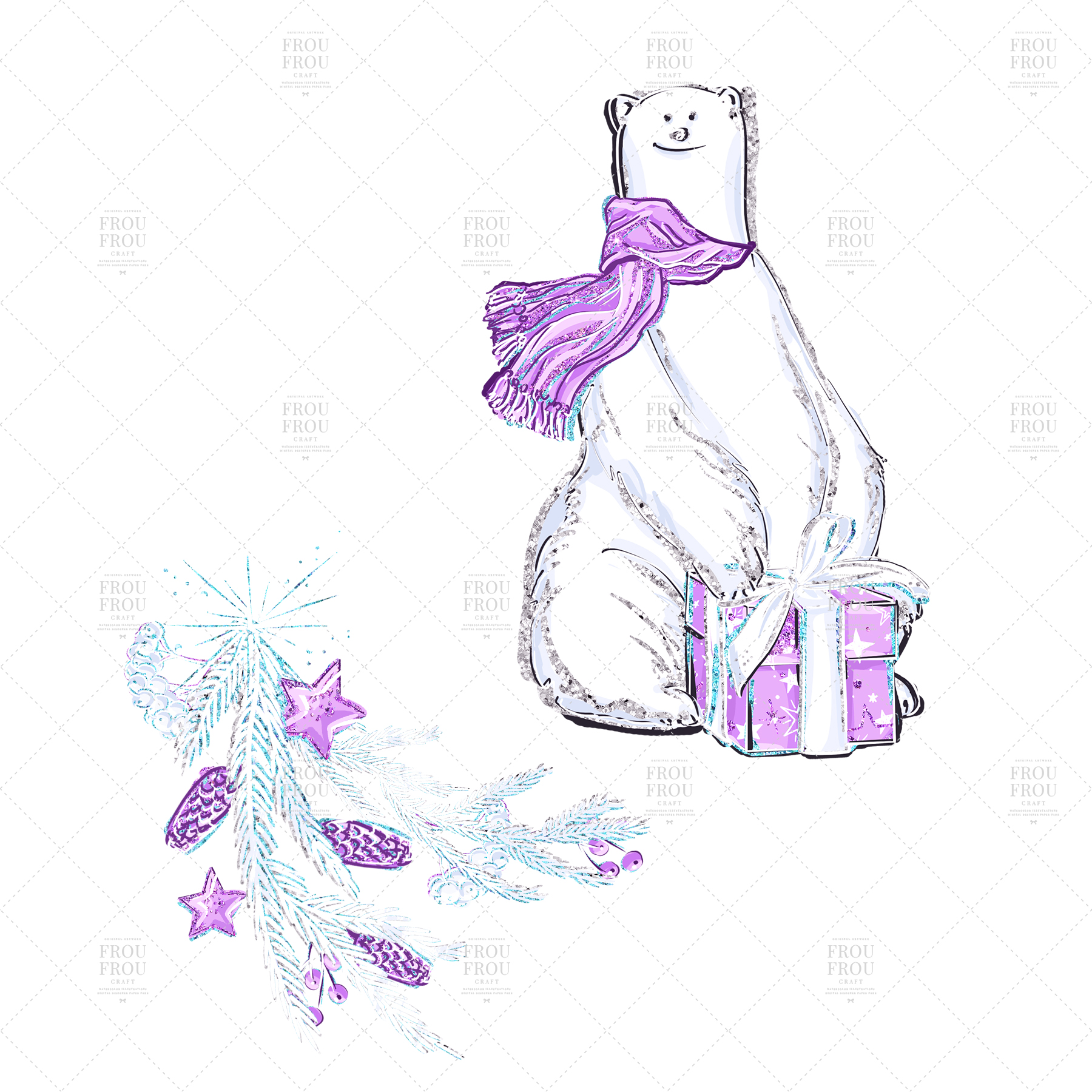 Winter Christmas Tree Penguin Bear Clip Art example image 3