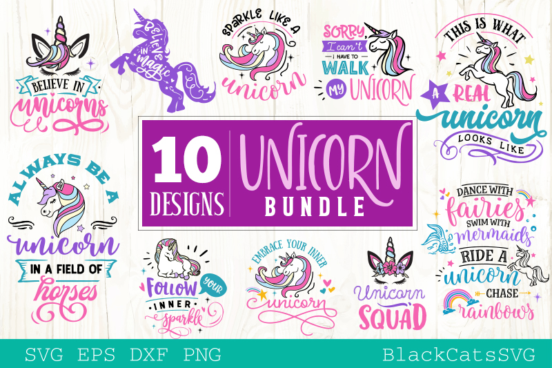 Unicorn SVG bundle 10 designs Magic SVG bundle example image 1