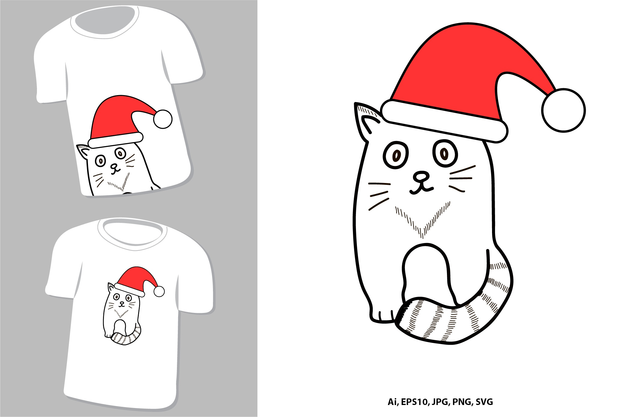 Cute cat. New Year and Christmas animal. example image 1