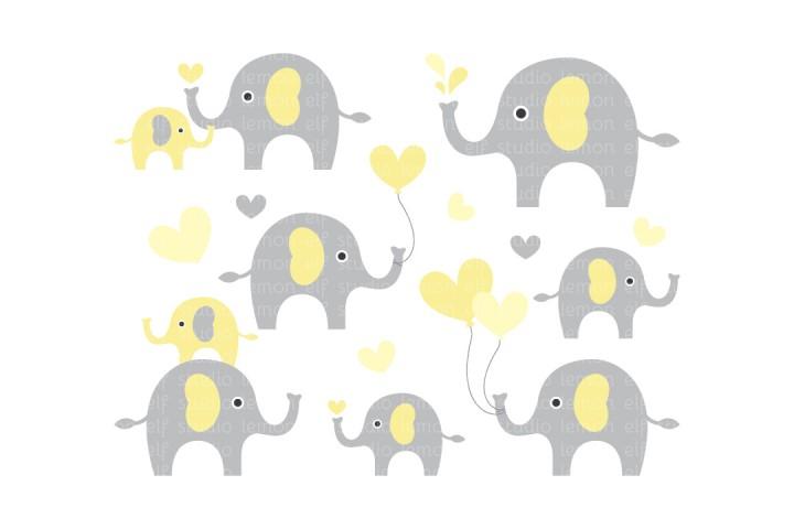 Cute Elephants-Digital Clipart (LES.CL10C) example image 1