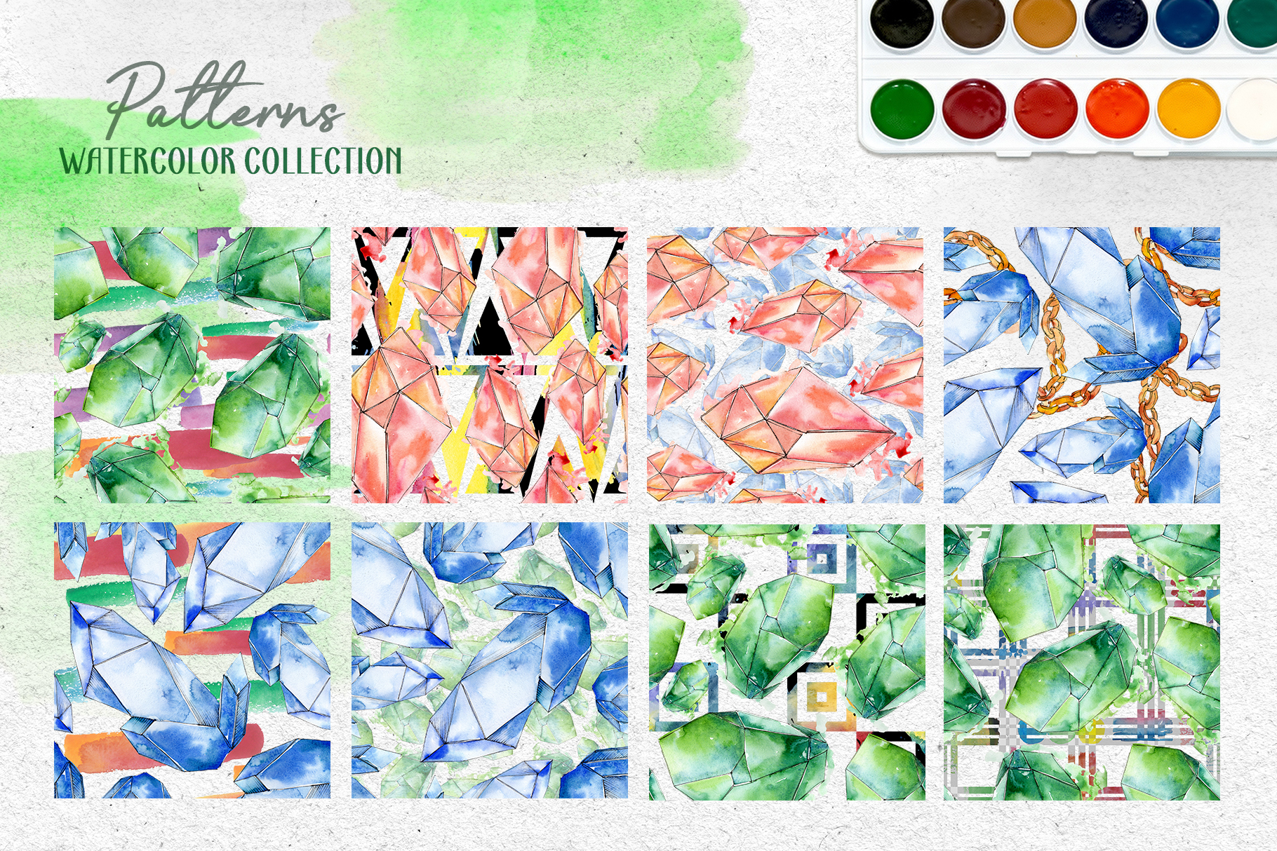 Crystals Corundum red, blue and green Watercolor png example image 2
