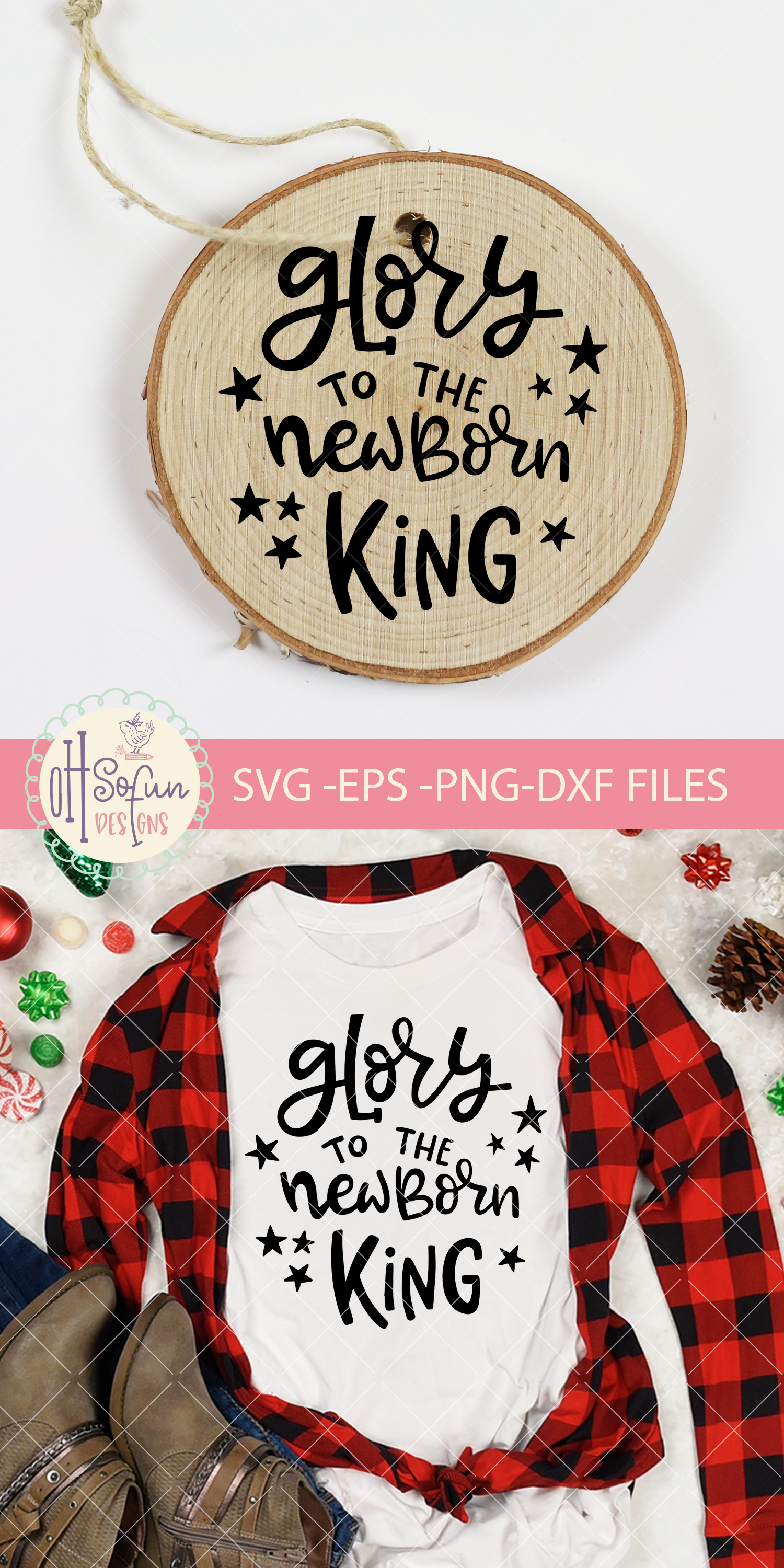 Glory to the newborn king, hand lettering Christmas SVG example image 2
