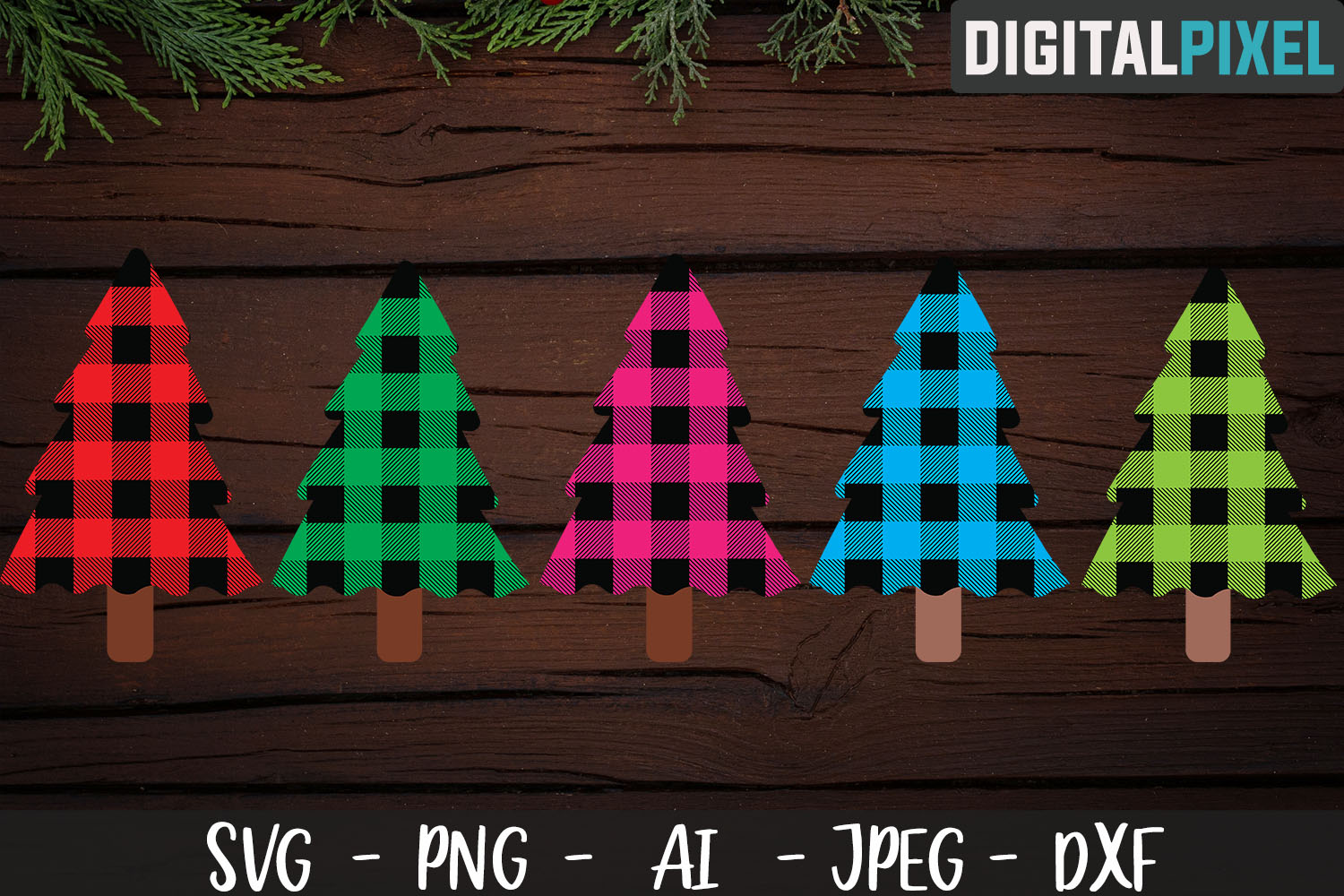 Buffalo Plaid Christmas Tree Bundle SVG PNG JPEG DXF example image 1
