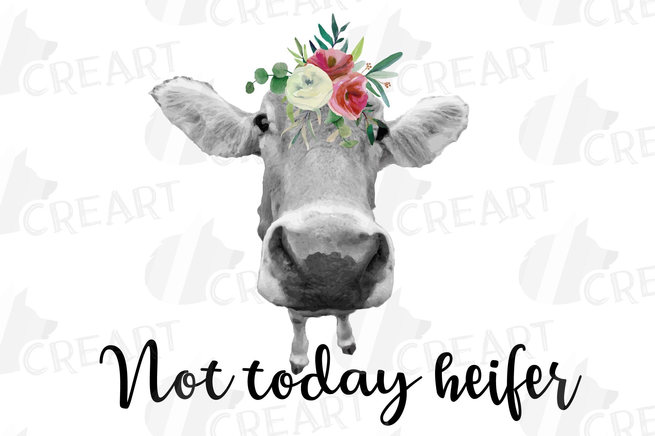 Not today Heifer printable shirt, mug, card floral cow png example image 14