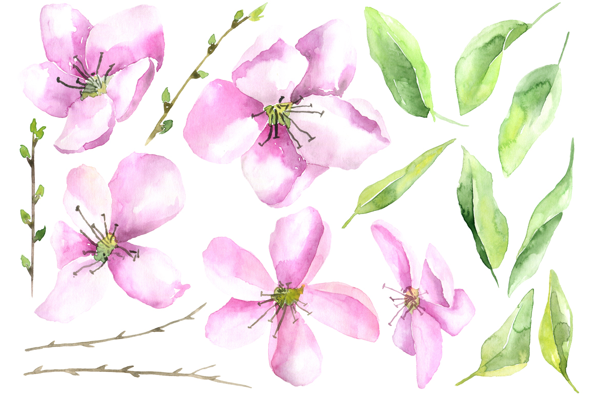 Watercolor pink flowers and leaves example image 2
