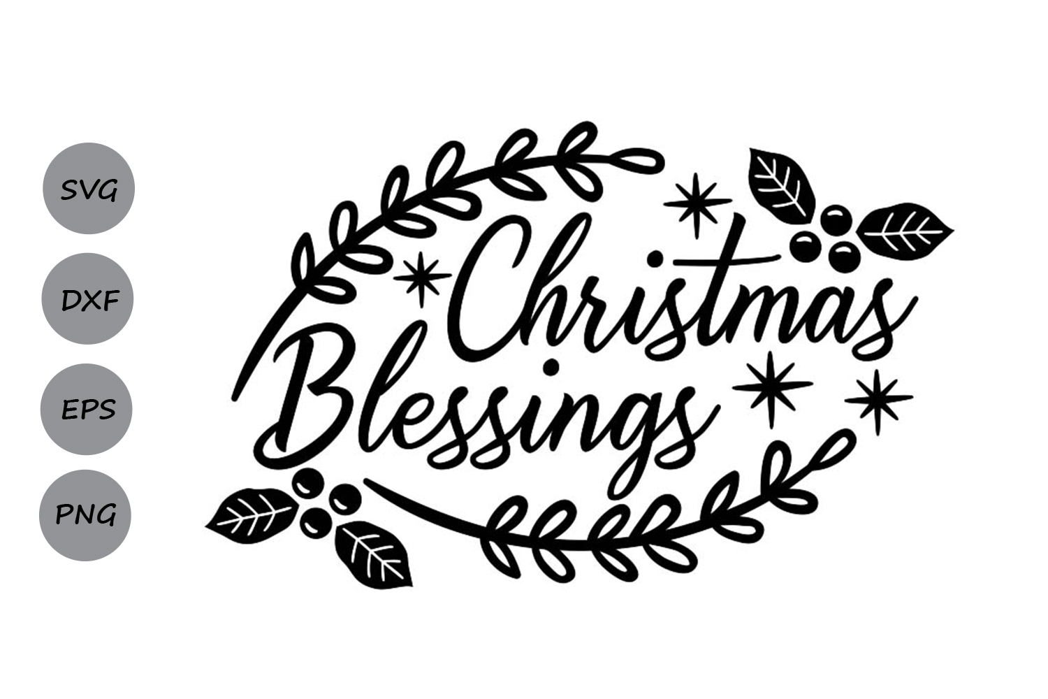 Christmas Blessings Svg, Christmas Svg, Holidays Svg. example image 1