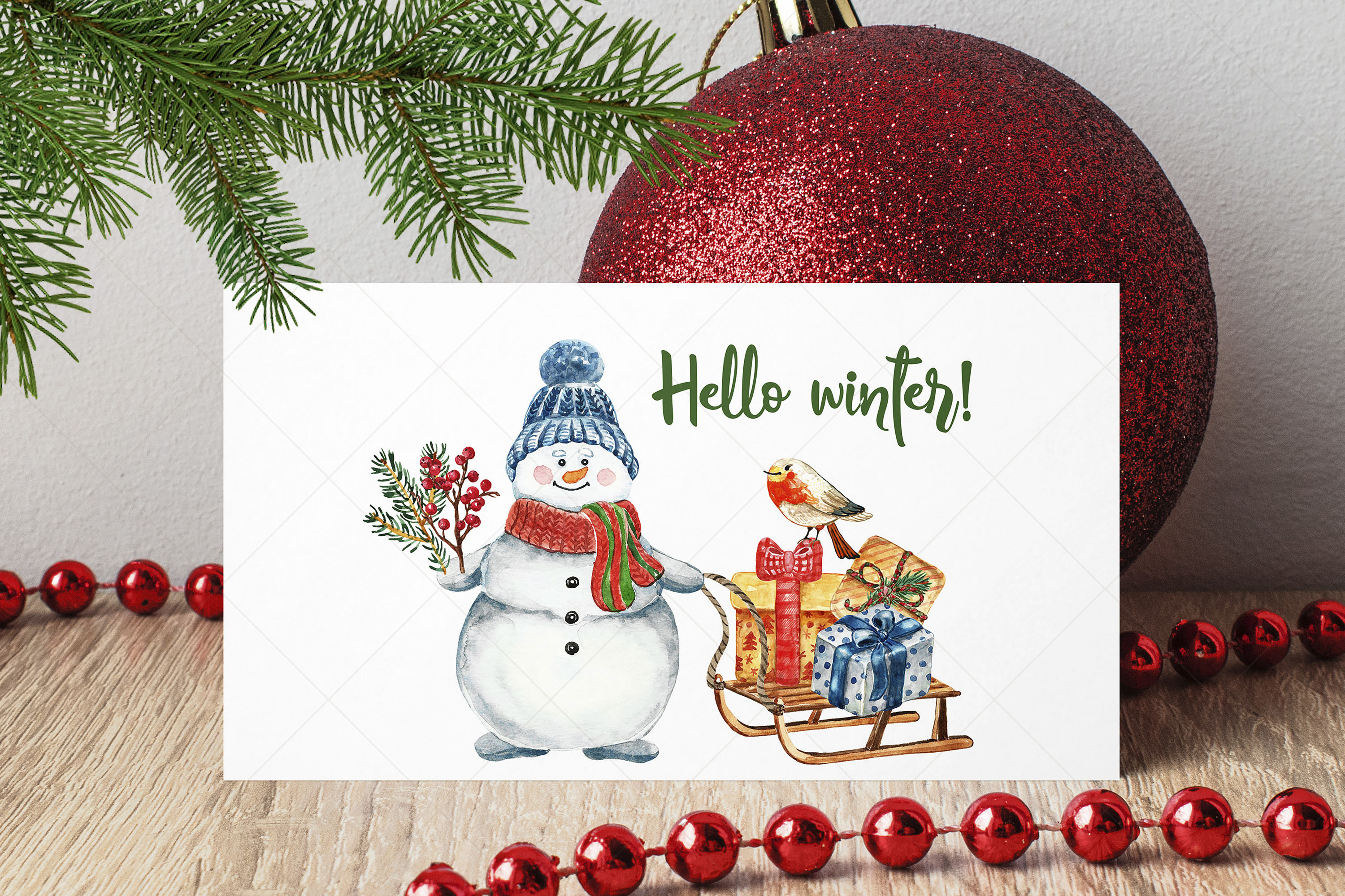 Watercolor Christmas Card Clip Art Holiday Card Set template example image 9