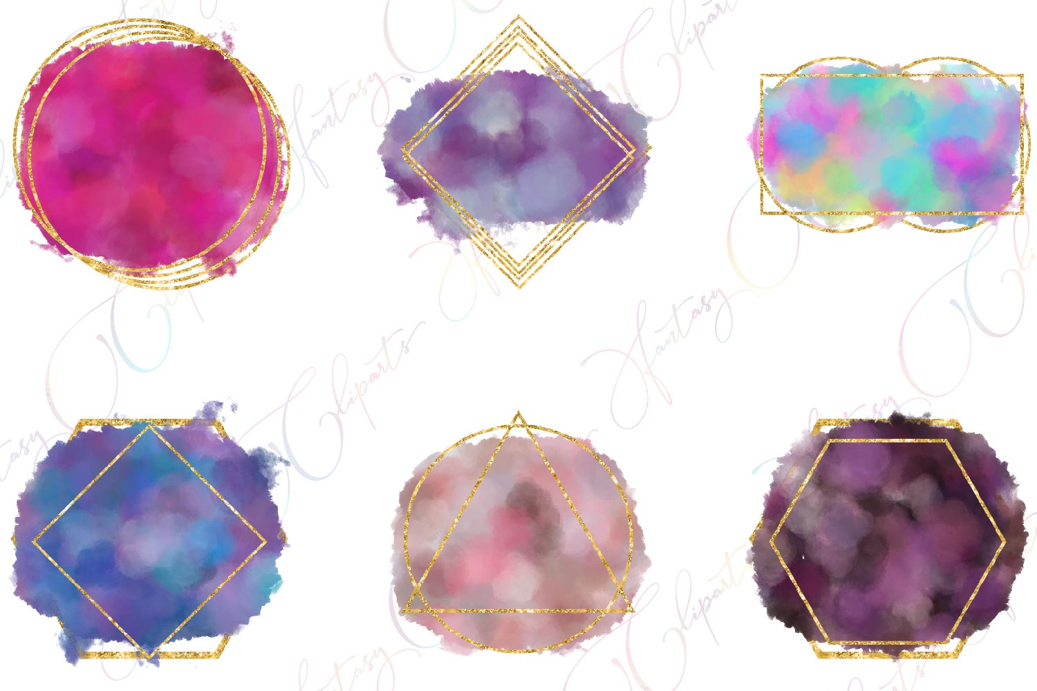 Watercolor Splashes Clipart example image 4