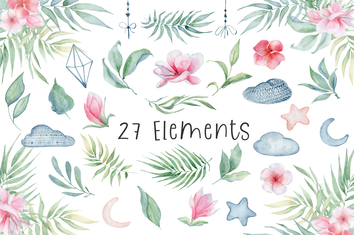 Lovely Elephants Watercolor set animals clipart example image 4