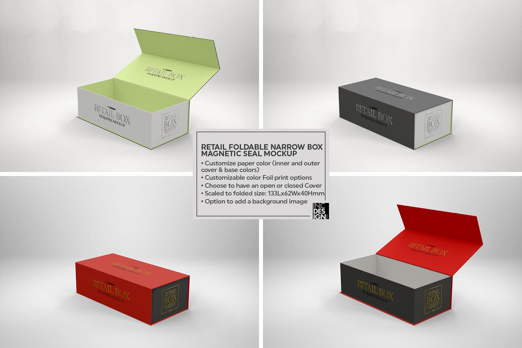 Foldable Narrow Retail Box Magnetic Seal Packaging Mockup