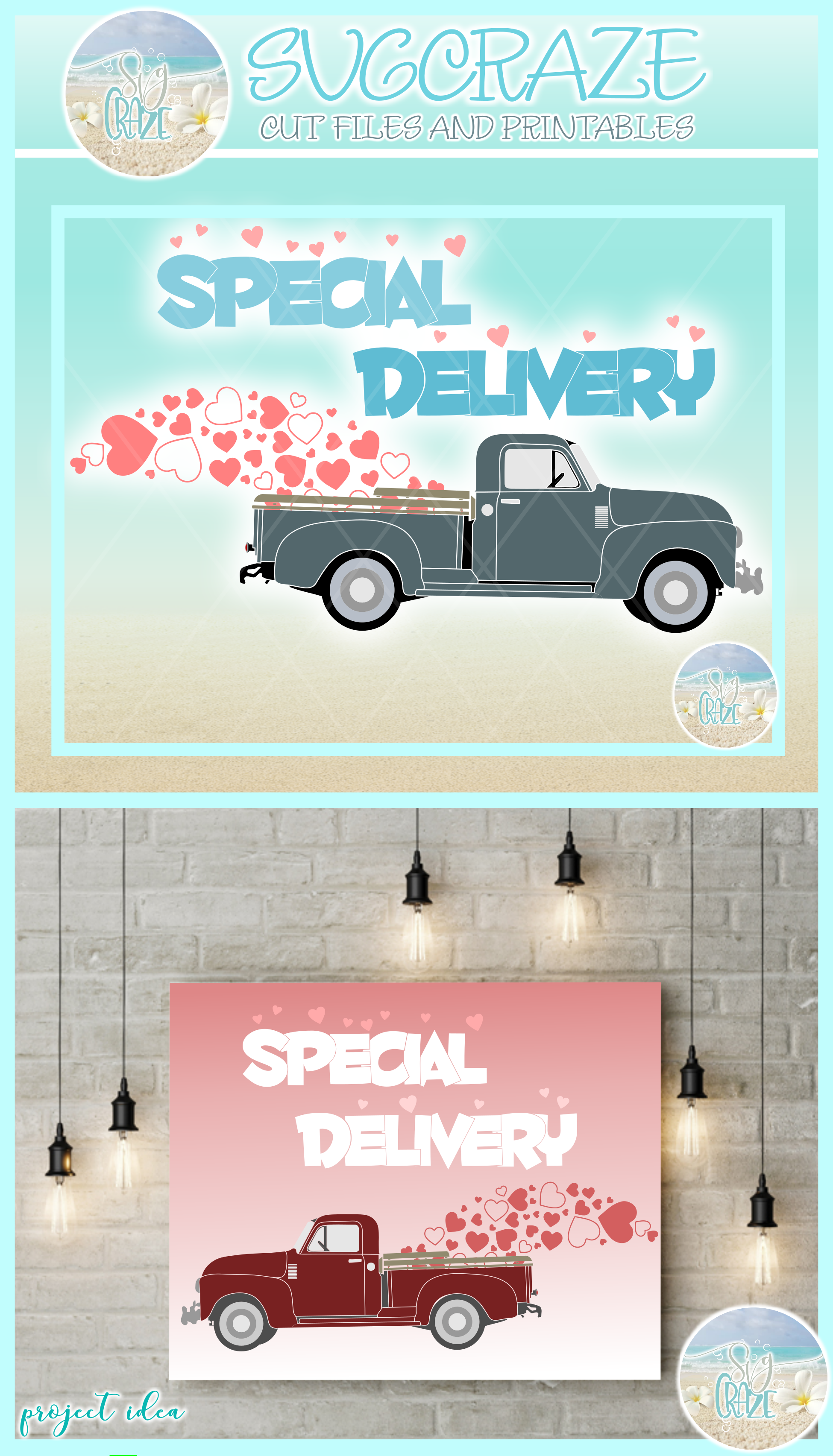 Valentines Day Special Delivery Truck Svg Dxf Eps Png Pdf example image 4