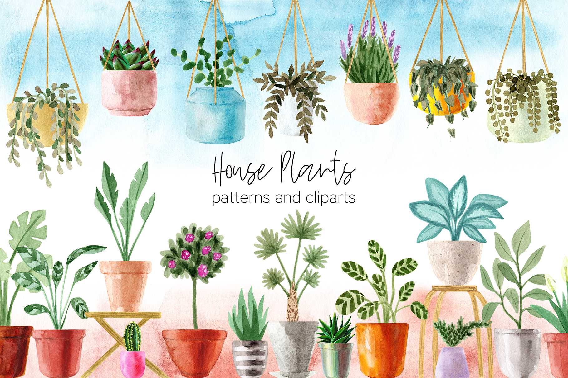 Watercolor House Plants Patterns example image 1