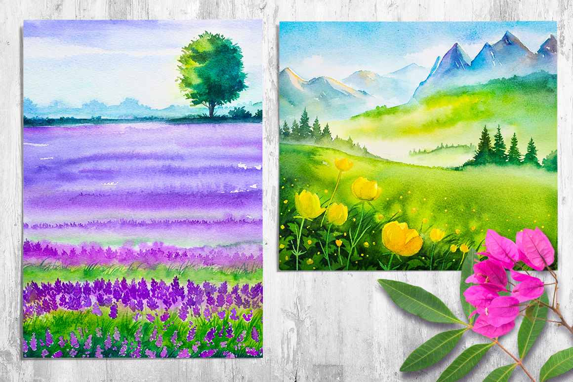 Spring Landscapes. Watercolor. example image 13