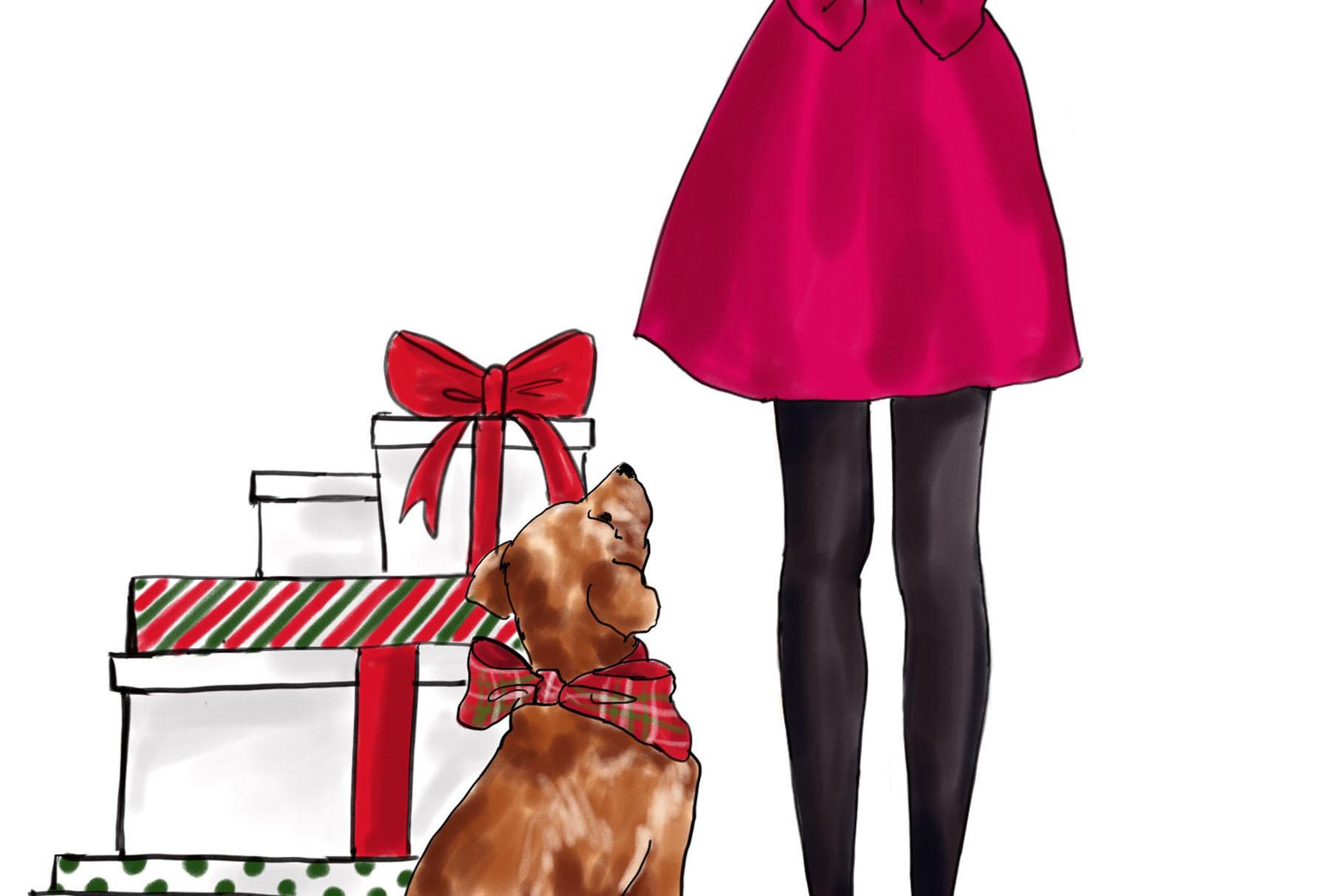 Fashion illustration - Christmas Girl 7 - Brunette example image 3