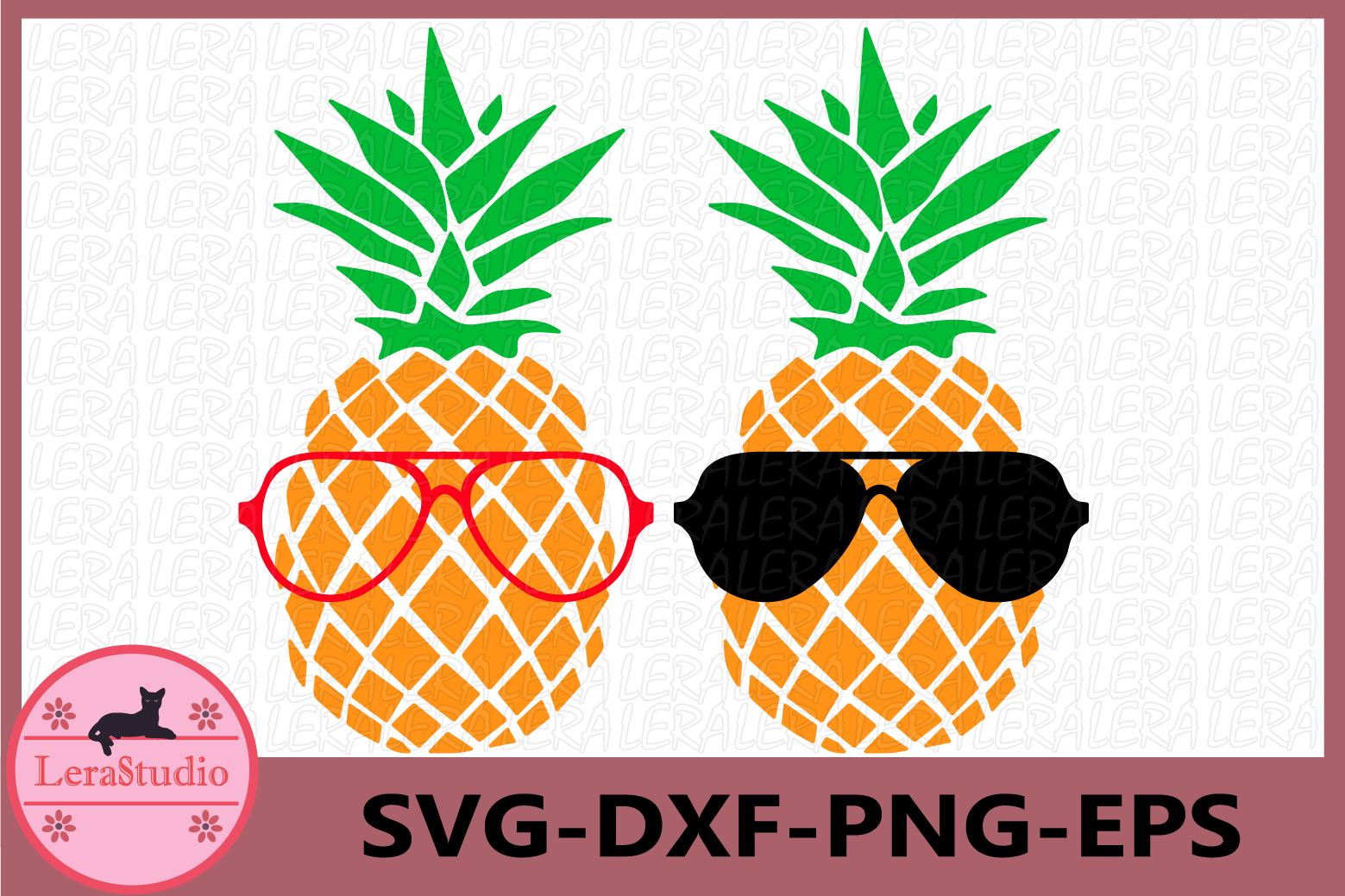 Pineapples SVG, Pineapple with glasses SVG, cut files example image 1