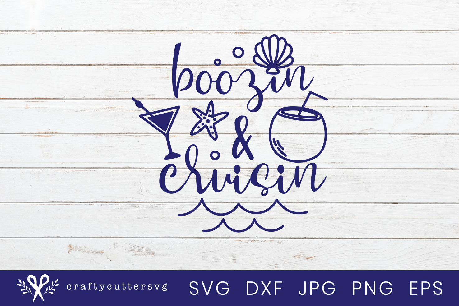 Boozin & cruisin Svg Cut File Cocktail Starfish Clipart example image 2