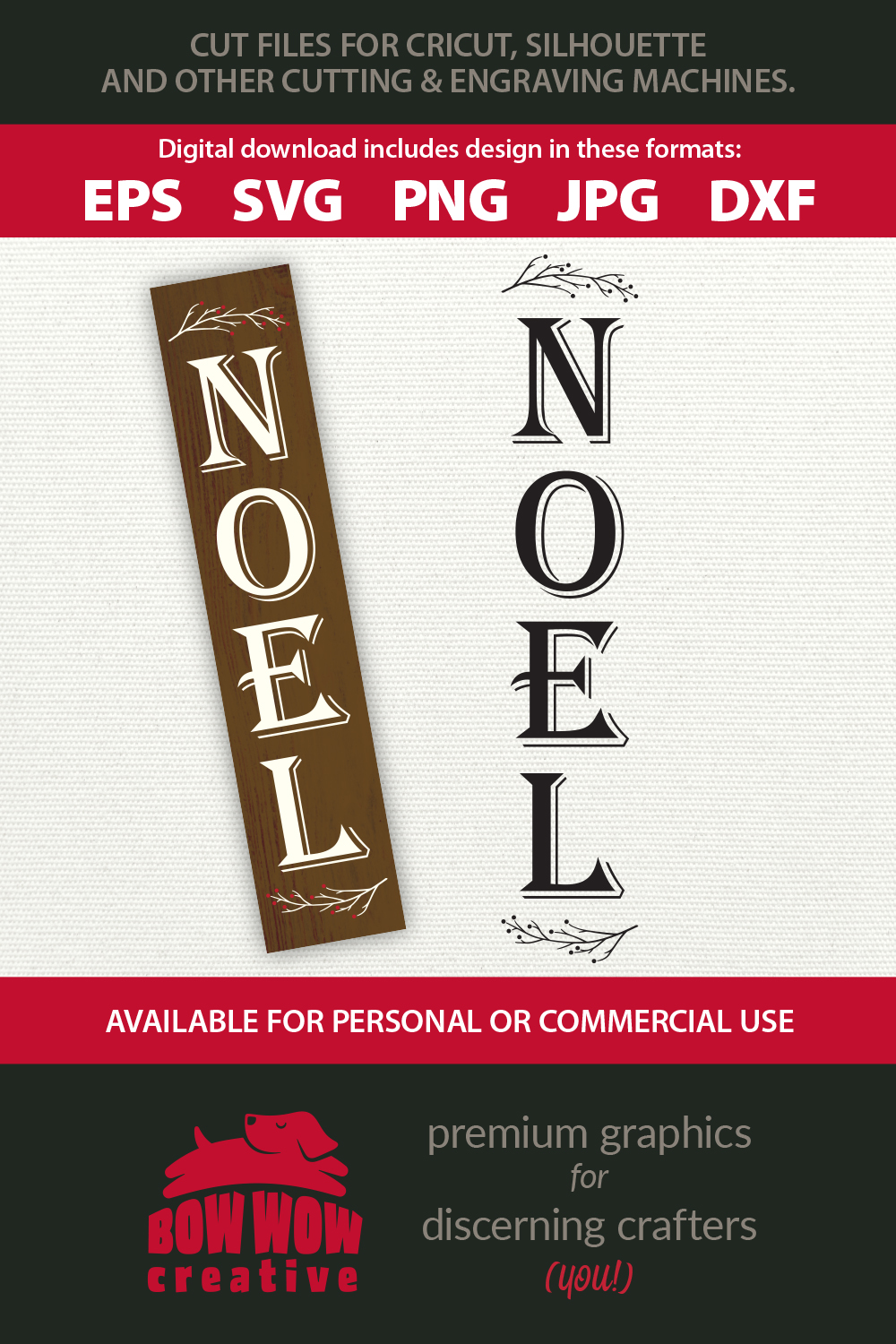 Christmas vertical porch sign - Noel - EPS SVG PNG JPG DXF example image 2