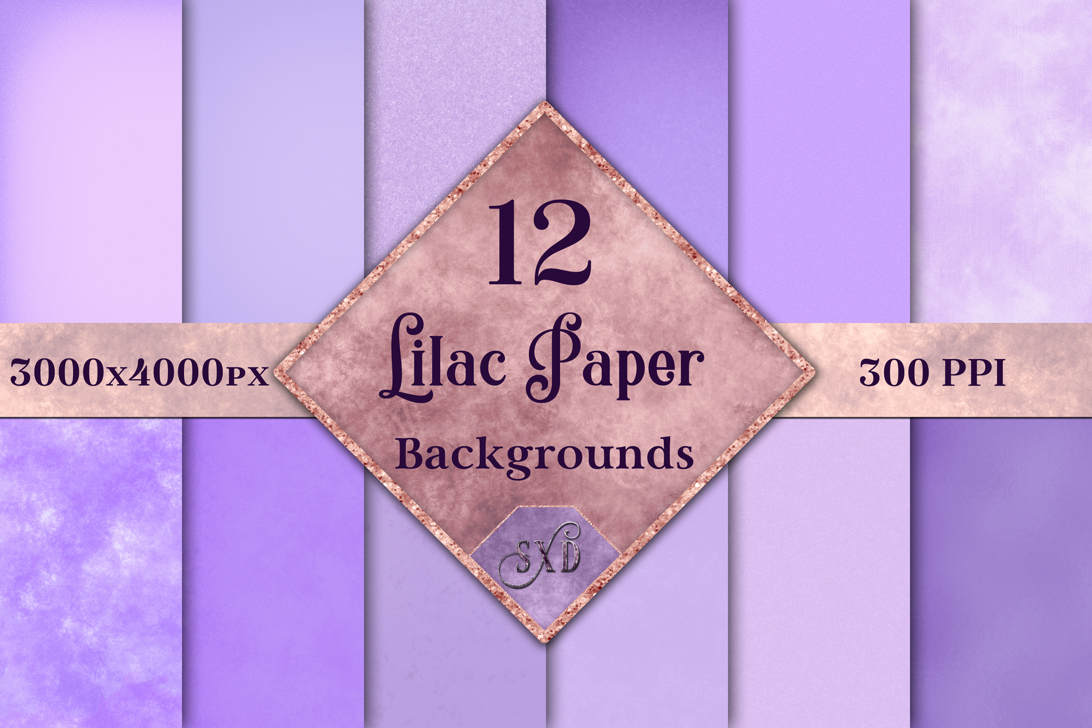 Lilac Paper Backgrounds - 12 Image Textures Set example image 1
