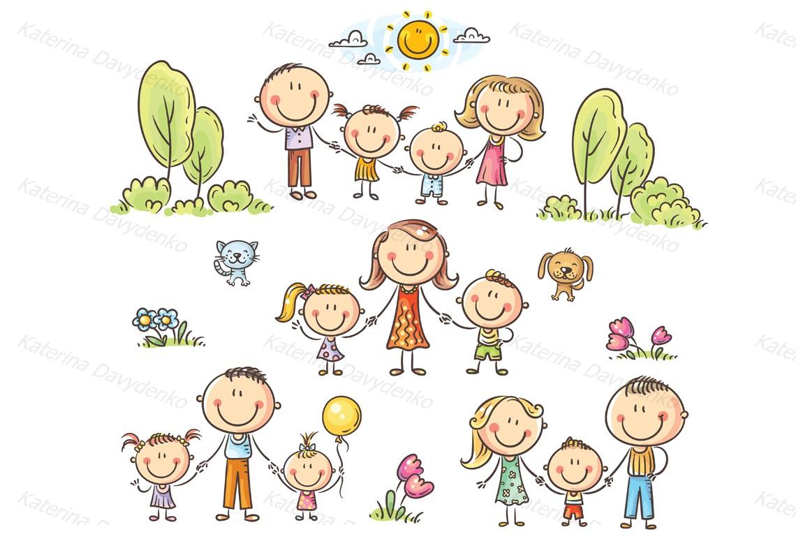 Happy doodle families bundle, vector example image 4