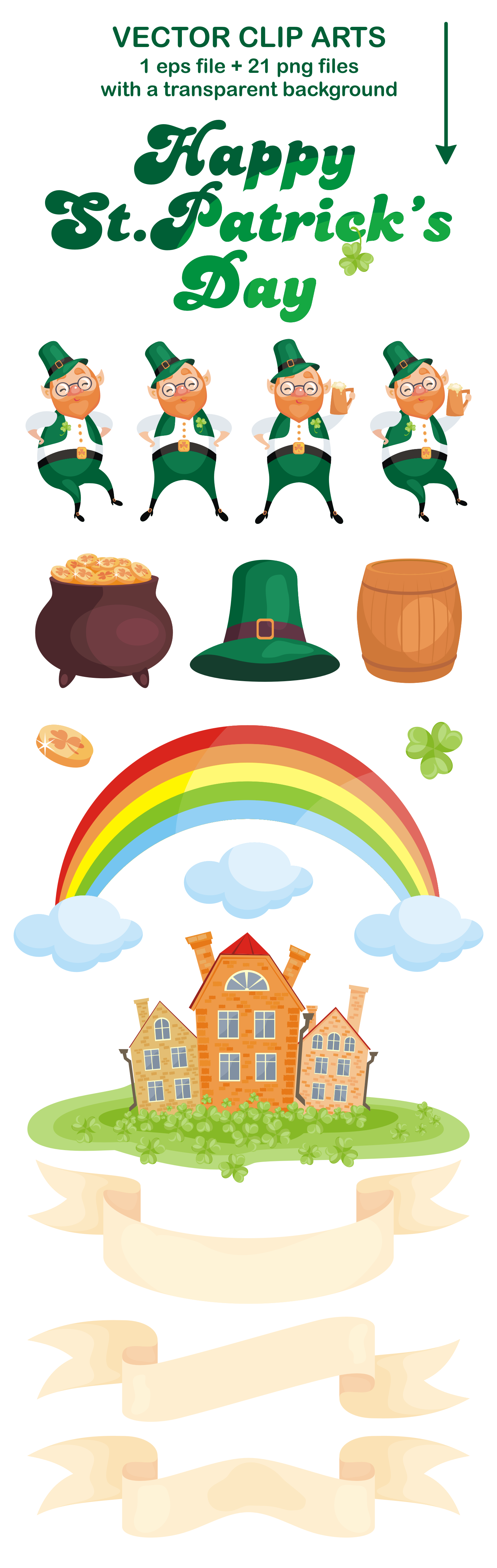 Happy st.Patricks Day. Vector clip arts and seamless patterns. example image 2
