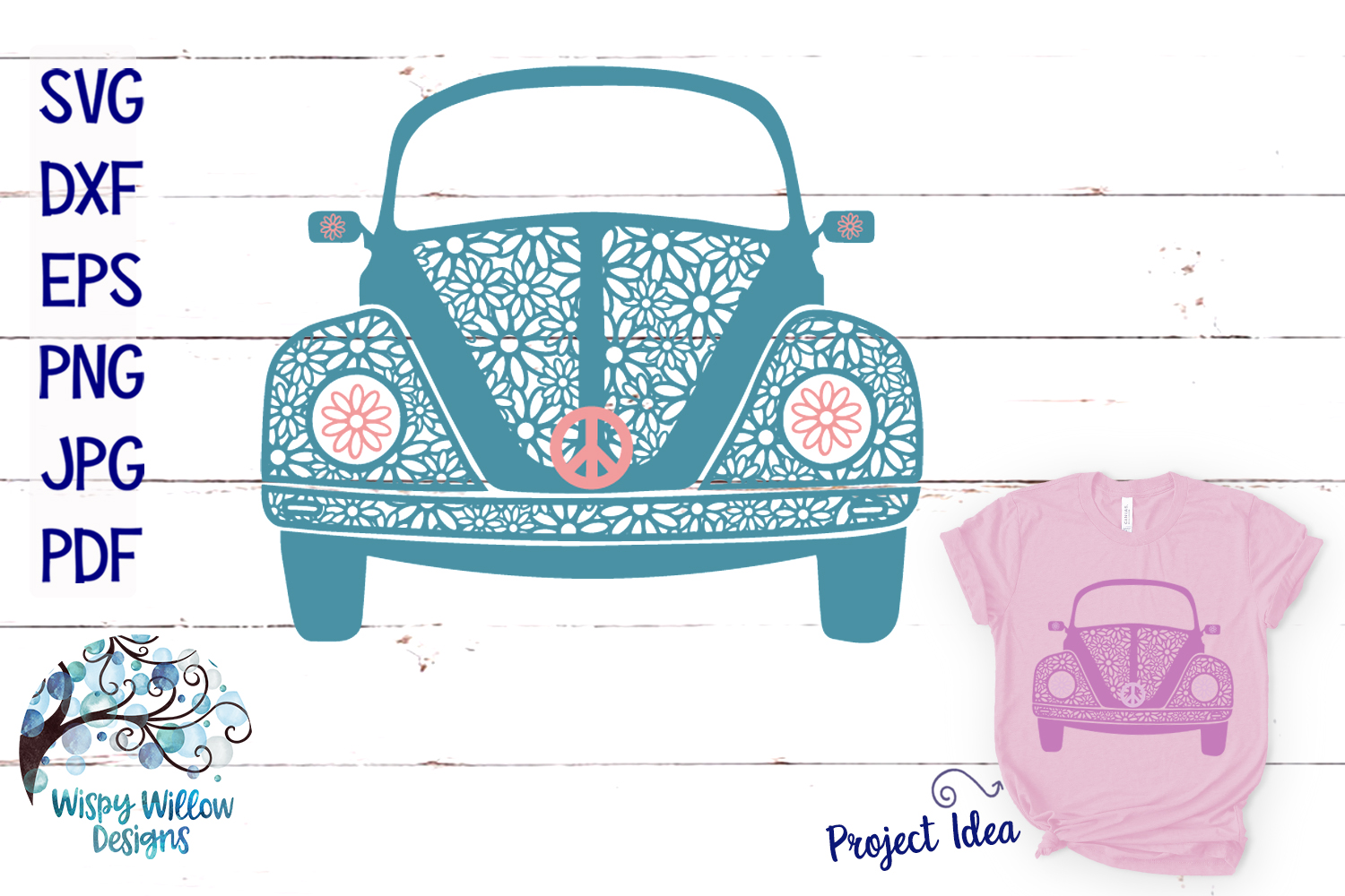 Hippie Car Daisy Zentangle SVG example image 1