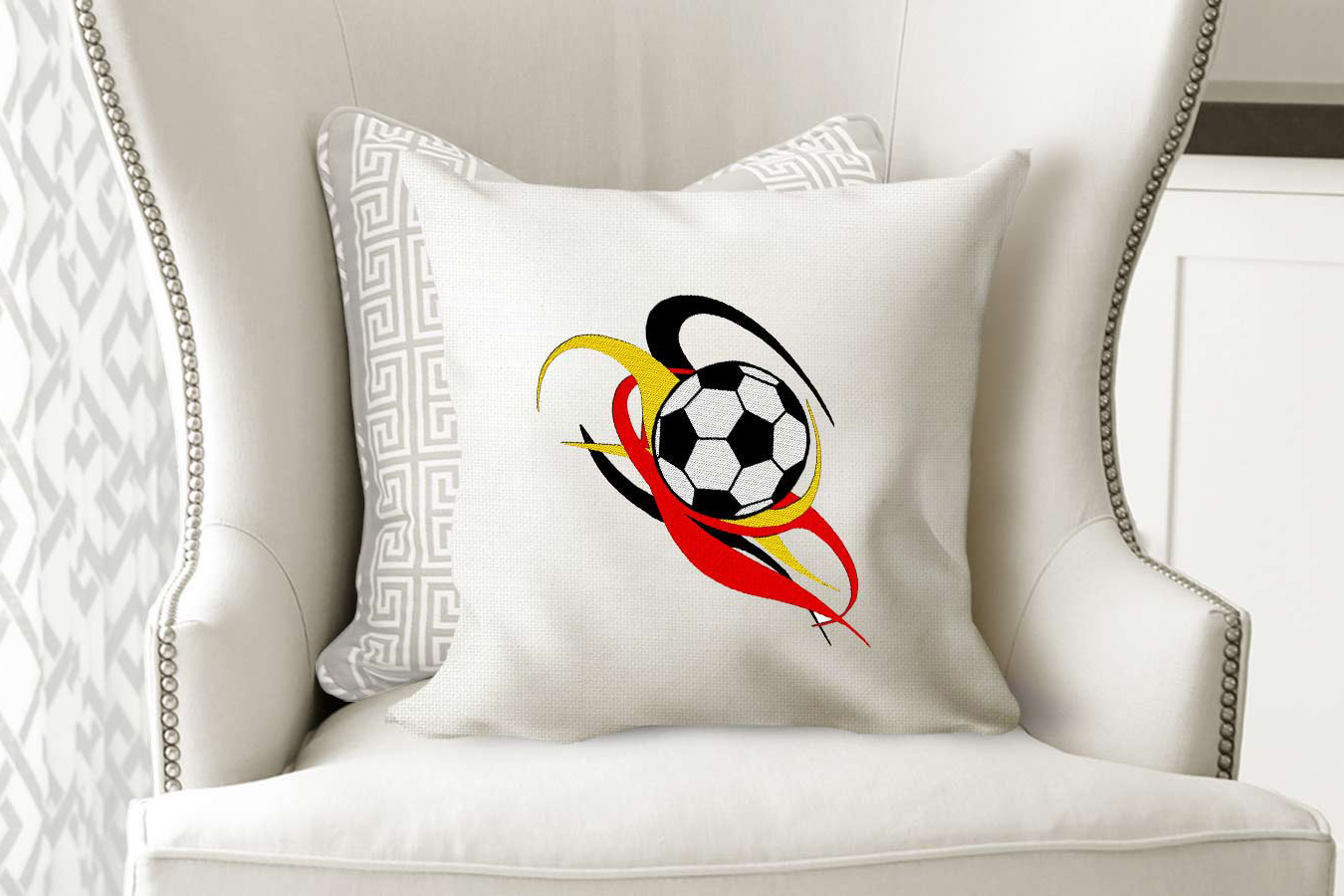 Soccer Ball Machine Embroidery Design 4 Sizes example image 1
