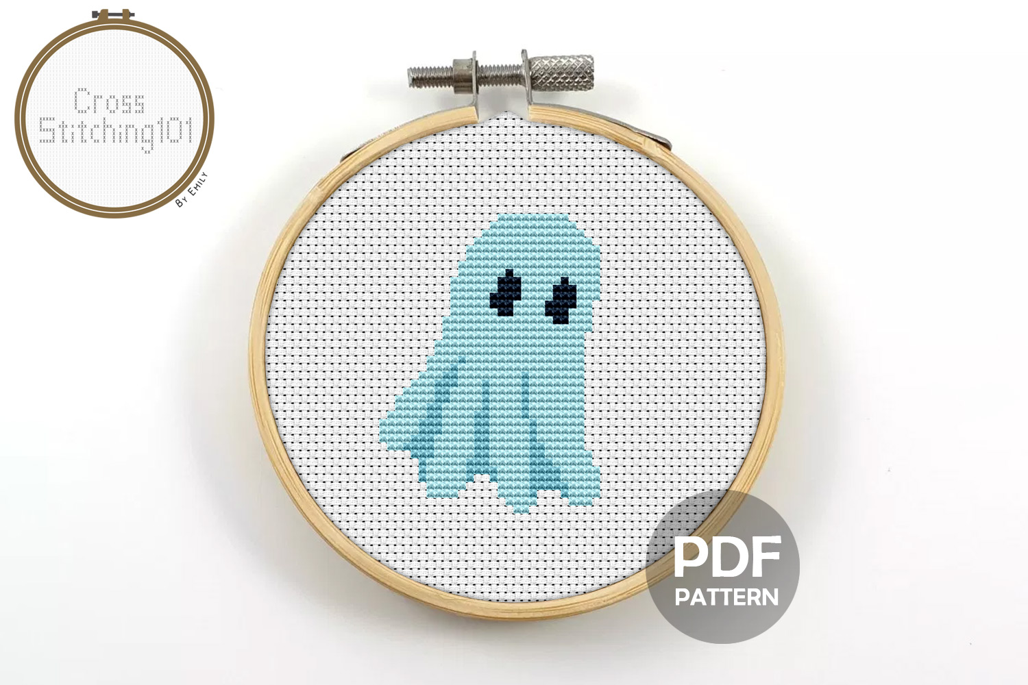 Ghost Cross Stitch Pattern- Instant Download PDF example image 1