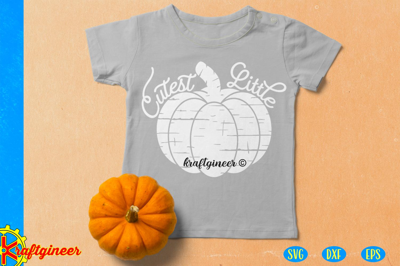 Halloween SVG- Distress Cutest Little Pumpkin CUT FILE, DXF example image 4