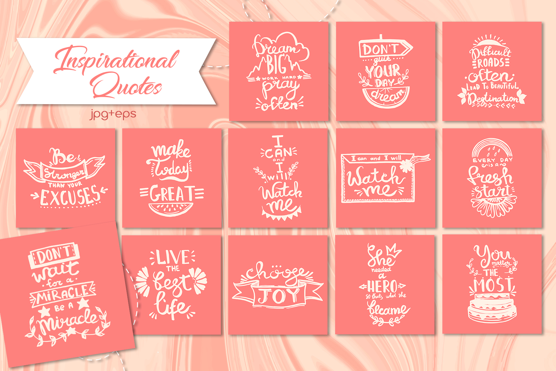 Living coral attributes set Watercolor png example image 2