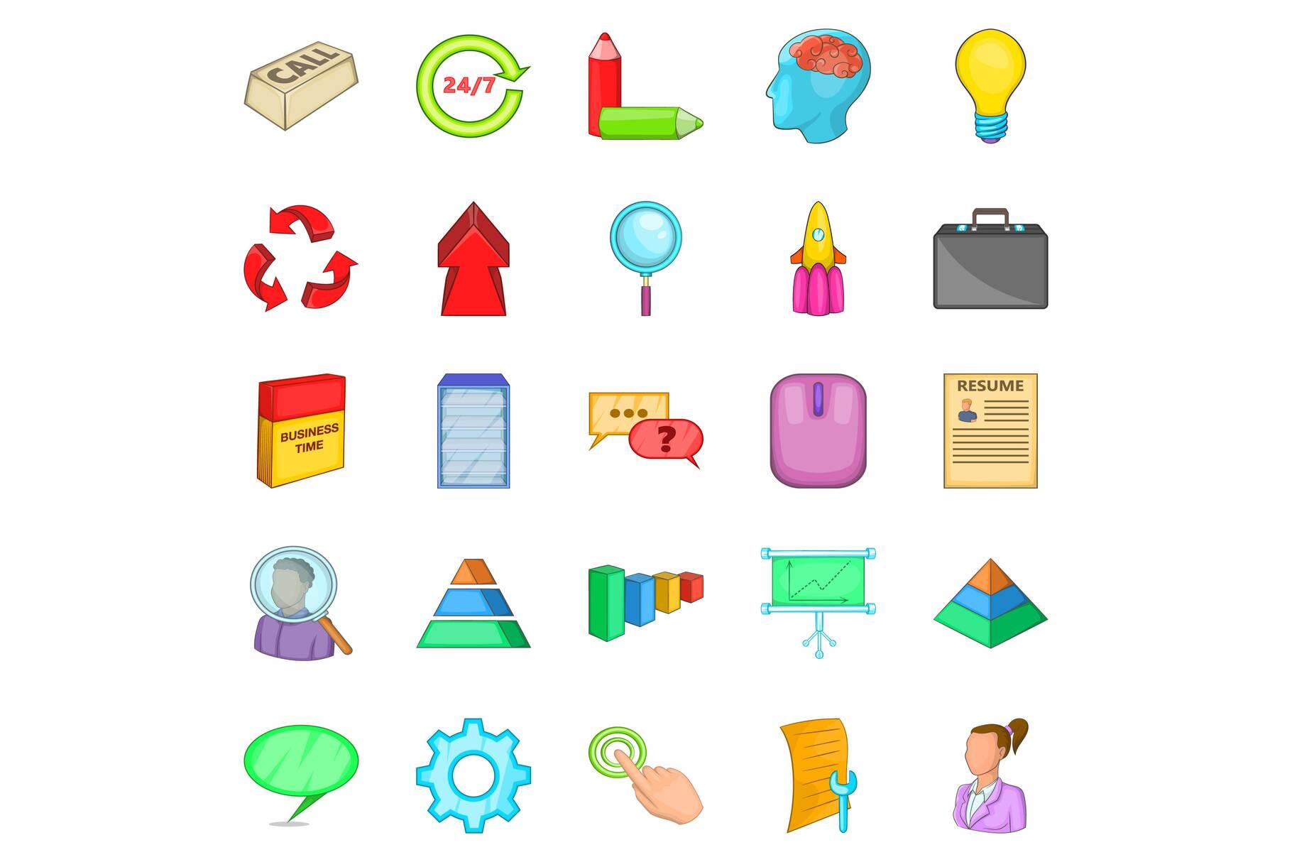 Treasury icons set, cartoon style example image 1